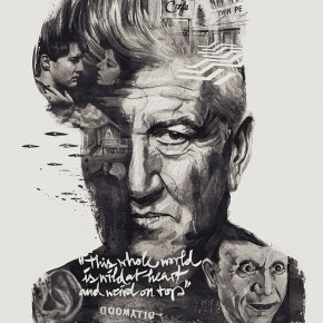 Spectacular David Lynch Portrait Incorporates Scenes From His Films Like Blue Velvet And Twin Peaks