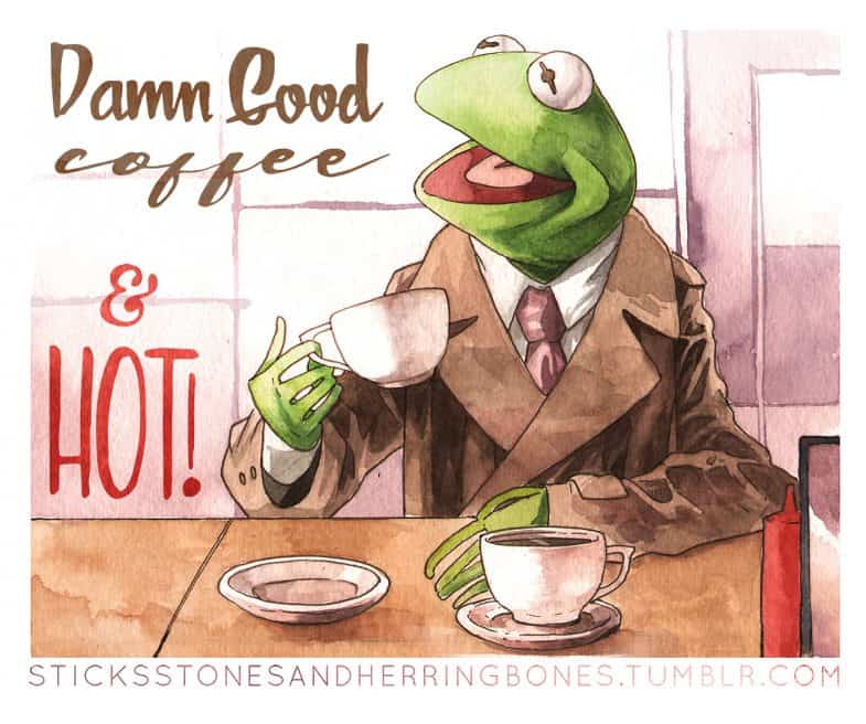 Cooper the Frog (Kermit the Frog as a Twin Peaks Muppet)