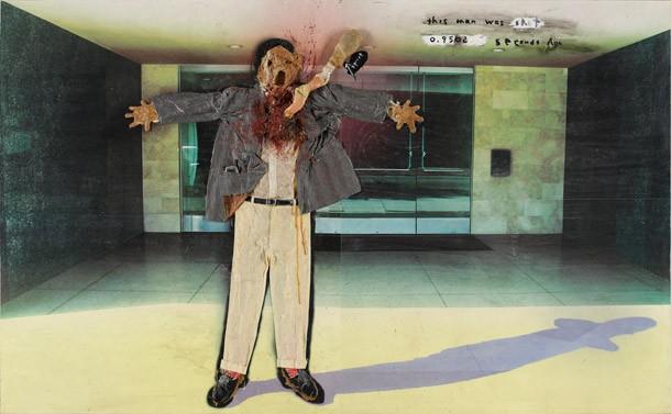 David Lynch, United States b.1946 / This Man Was Shot 0.9502 Seconds Ago 2004 / Mixed media on giclée print / 182.8 x 304.8 cm / Courtesy: David Lynch / © The artis