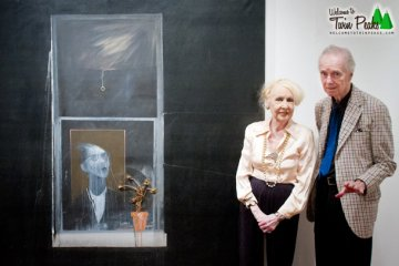 Rodger LaPelle and Christine McGinnis next to Woman in the Window by David Lynch