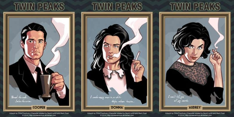 Twin Peaks character portraits, comic book style