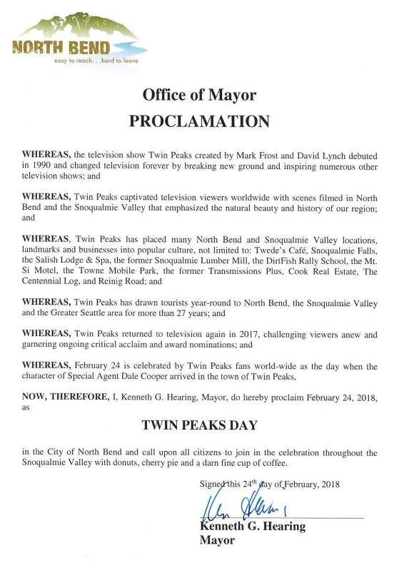 North Bend's Twin Peaks Day (February 24) Proclamation