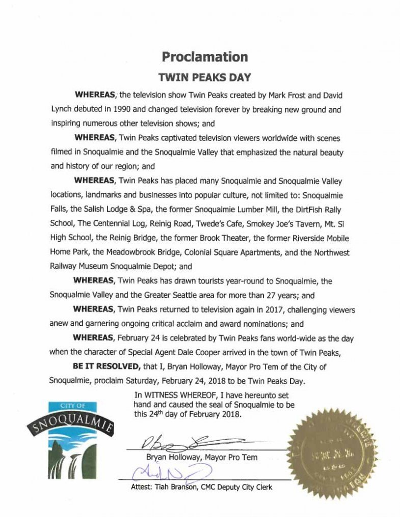 Twin Peaks Day (February 24) Proclamation