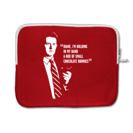 agent cooper twin peaks notebook bag diane, i'm holding in my hand a small box of chocolate bunnies