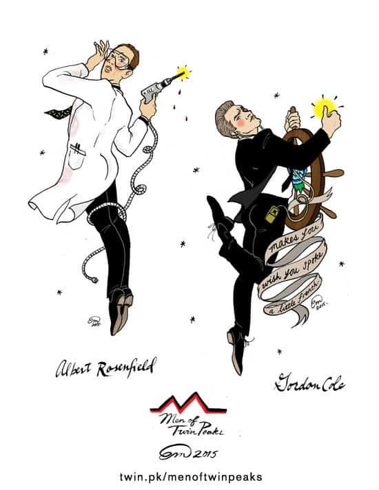 Albert Rosenfield and Gordon Cole Twin Peaks pin-ups