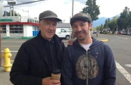 David Lynch with fan @avlisleumas on the set of Twin Peaks in September 2016