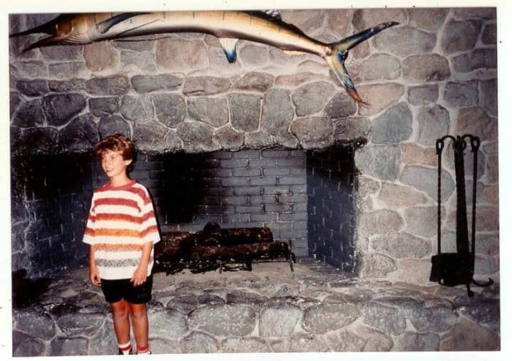 Kid near Ben Horne's fireplace