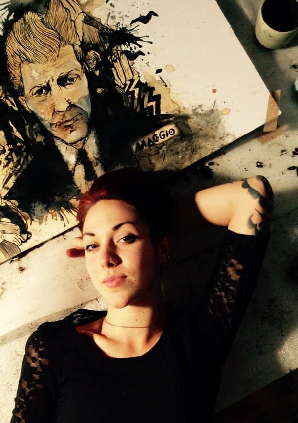Carolina Maggio with her David Lynch coffee portrait