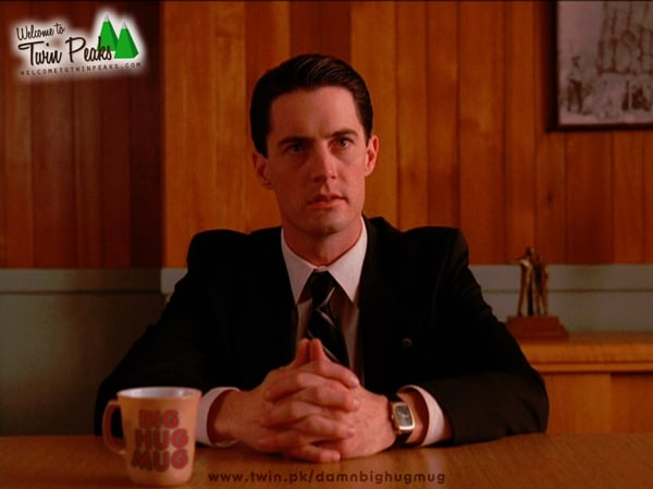 Dale Cooper drinking from True Detective's Big Hug Mug