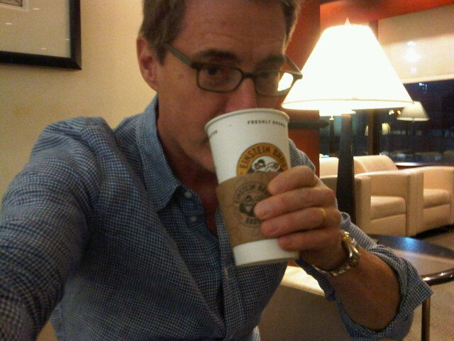 Selfie of Kyle MacLachlan drinking coffee