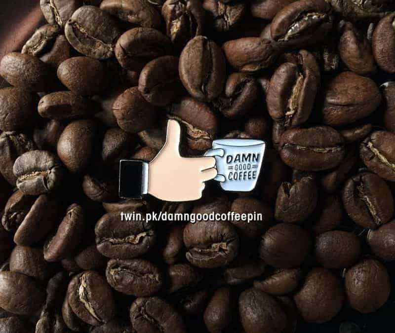 Thumbs up! Damn Good Coffee soft enamel pin