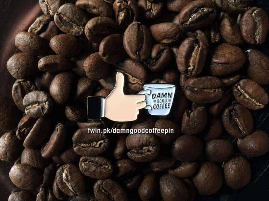 Thumbs up! Damn Good Coffee soft enamel pin