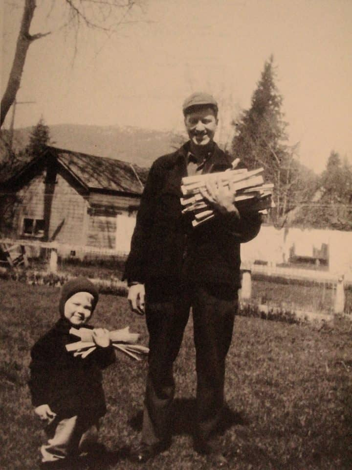 David Lynch (3) and father Donald Lynch in Sandpoint, Idaho