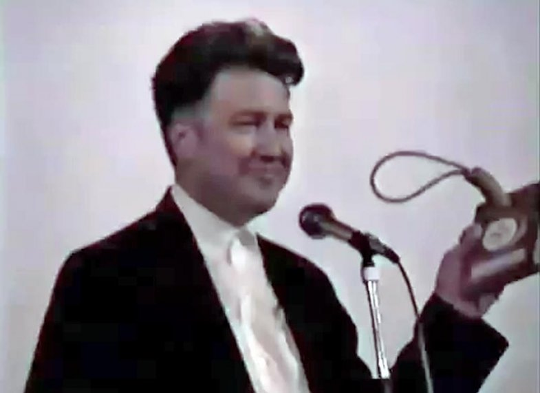David Lynch receiving an award for Twin Peaks: Fire Walk with Me at the 1992 Twin Peaks Festival
