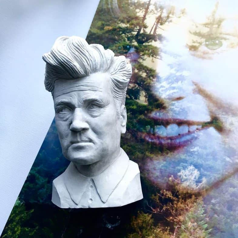 David Lynch bust and Twin Peaks poster