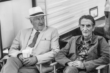 "David Lynch (""Howard"") & Harry Dean Stanton (""Lucky"") on the set of ""Lucky,"" due in 2017. Photo by Sefania Rosini."