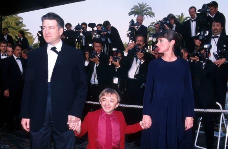 David Lynch, Michael J. Anderson and Mary Sweeney at the 1992 Cannes Film Festival for Twin Peaks: Fire Walk with Me