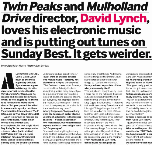David Lynch Mixmag Interview