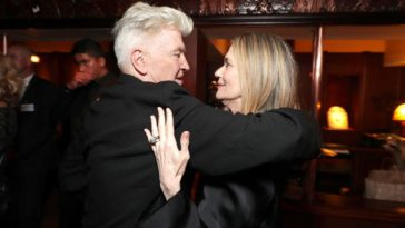 David Lynch & Peggy Lipton hug at the premiere of Twin Peaks: The Return