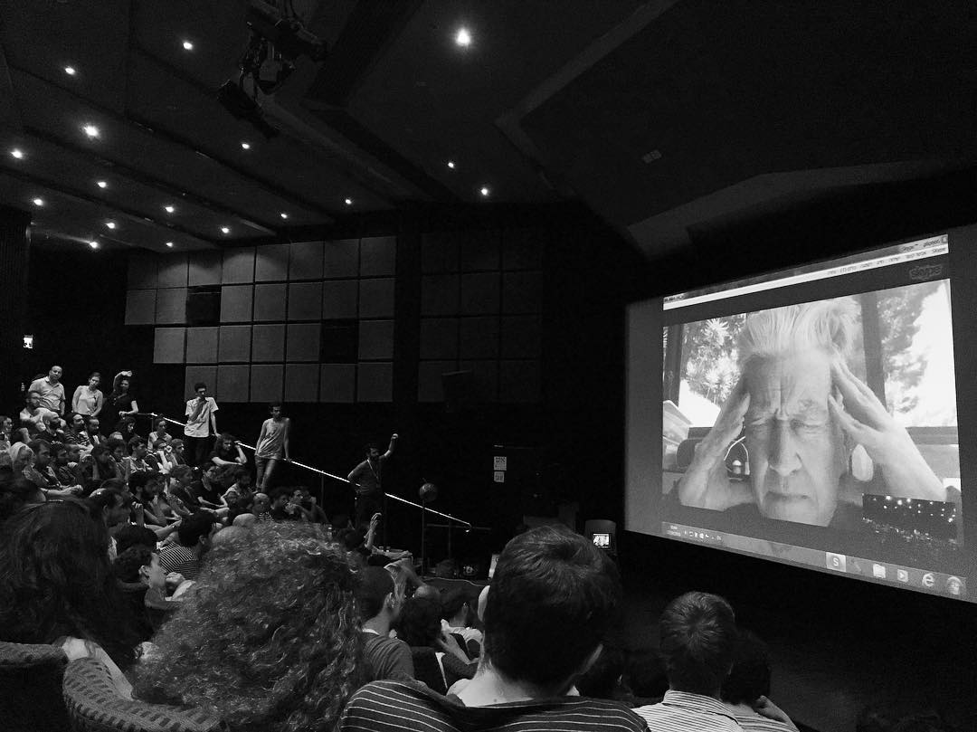 David Lynch on Skype with Tel Aviv. Photo: Inbal Sinai