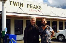 David Lynch visiting Twin Peaks, outside of Twede's in North Bend, WA