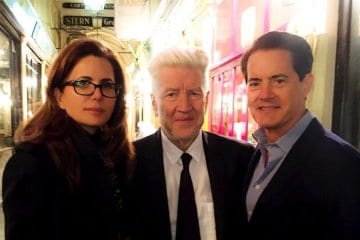Desiree Gruber, David Lynch and Kyle MacLachlan last night in Paris.
