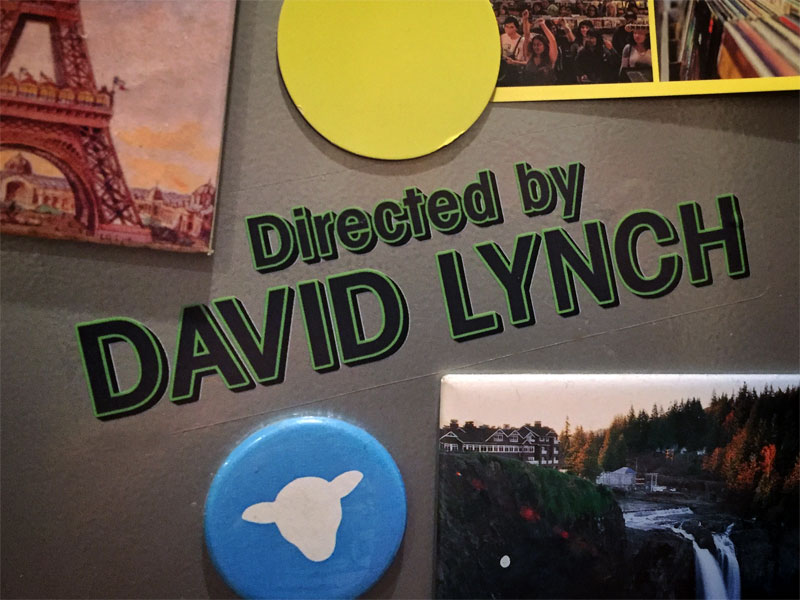 Directed by David Lynch sticker on a magnet board