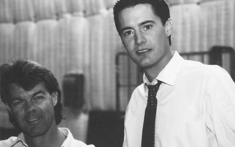 Duwayne Dunham and Kyle MacLachlan behind the scenes of Twin Peaks