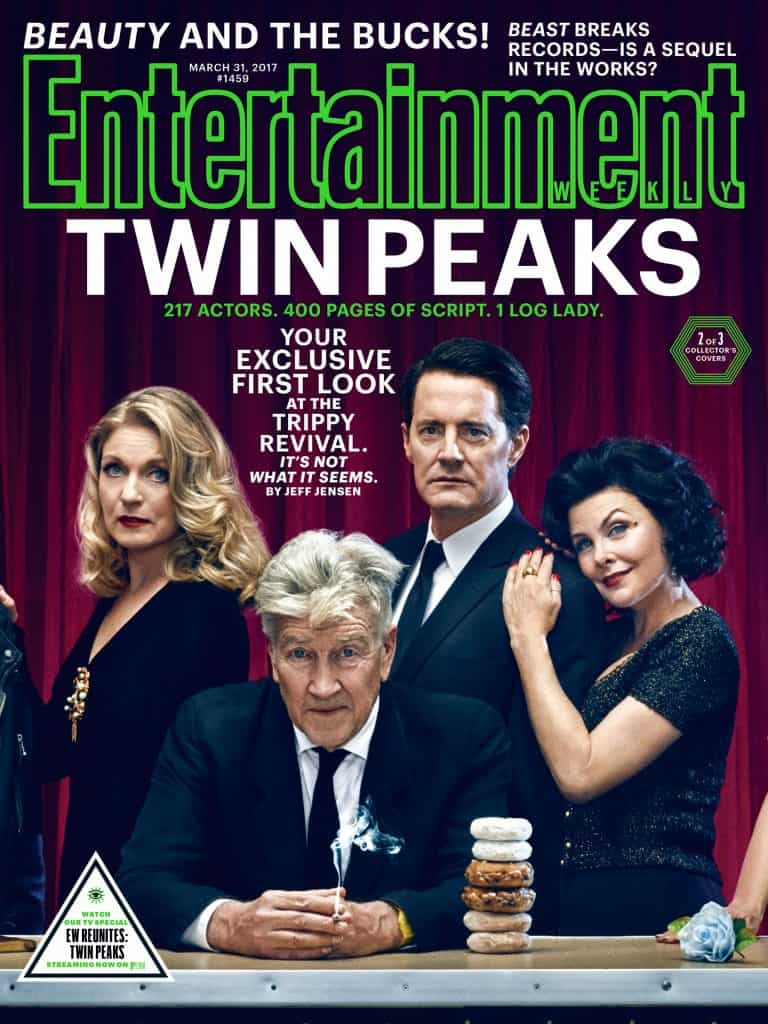 Entertainment Weekly's Twin Peaks cover: Laura Palmer, David Lynch (Gordon Cole), Dale Cooper and Audrey Horne