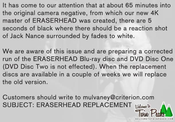 Eraserhead issue statement by Criterion, announcement of disc replacement program