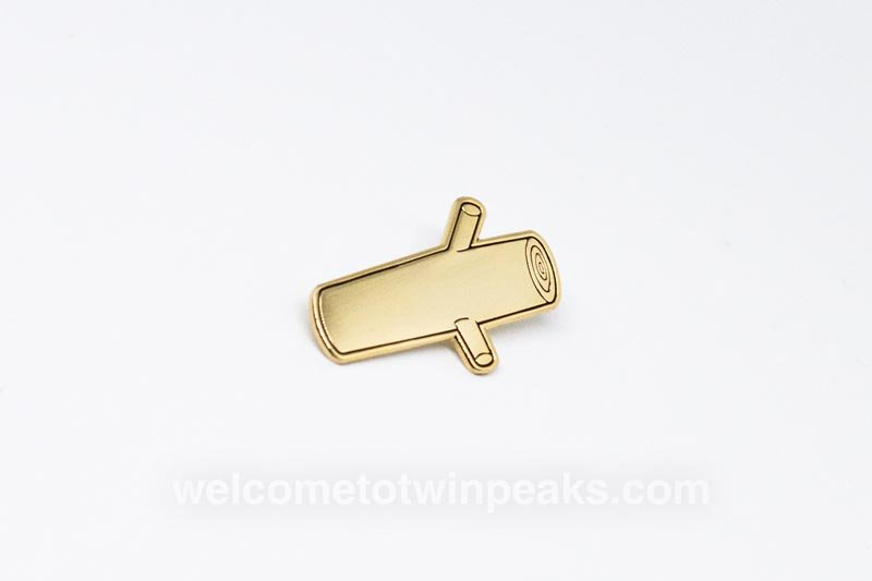 My log is turning gold. Golden Twin Peaks log soft enamel pin.