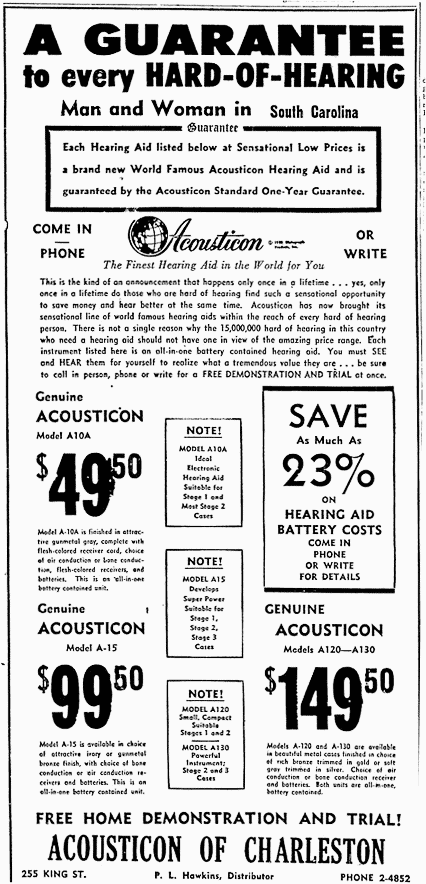 Newspaper ad for Gordon Cole's hearing aid device