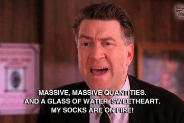 """My socks are on fire."" —Gordon Cole"