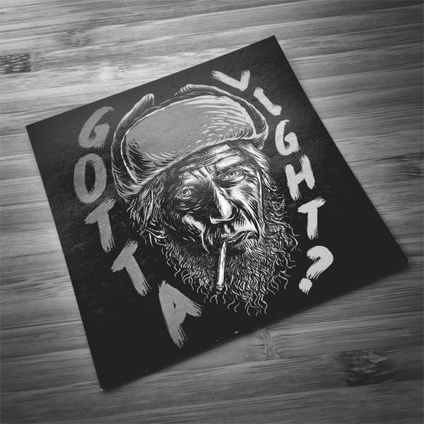 """""""Gotta Light?"""" Woodsman sticker"""