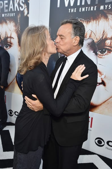 Grace Zabriskie and Ray Wise kiss at the Twin Peaks premiere