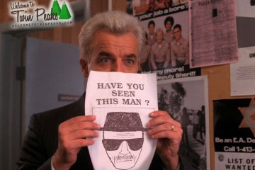 Twin Peaks: Leland Palmer holding Have You Seen This Man poster with Heisenberg sketch