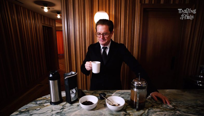 Kyle MacLachlan tasting his own Black Lodge coffee