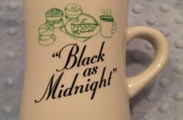 """Black as midnight"" coffee mug, Kyle MacLachlan's wrap gift"