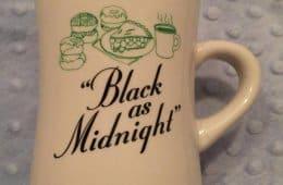 """Black as midnight"" coffee mug, Kyle MacLachlan's wrap gift"