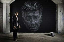 Maurice Braspenning's David Lynch portrait in chalk/paint