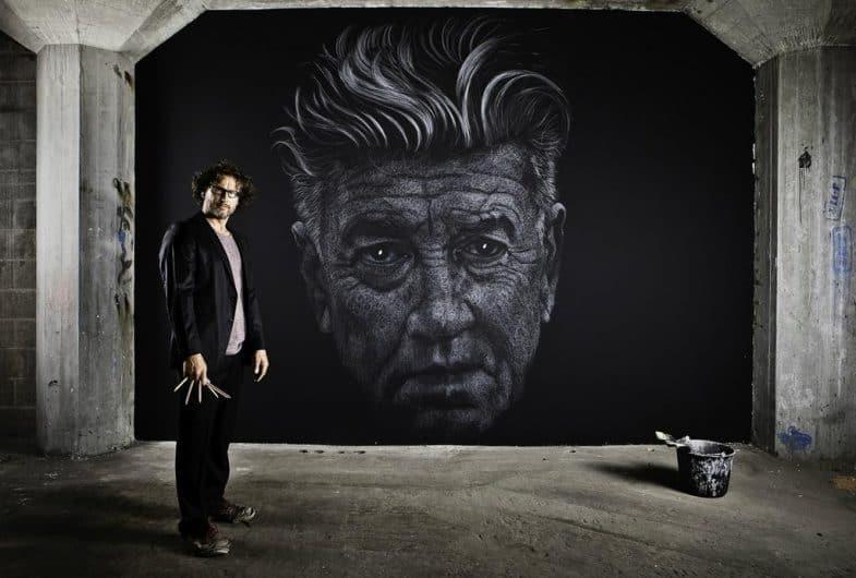 Maurice Braspenning's David Lynch portrait in chalk/paint
