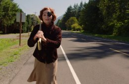 Nadine Hurley (Wendy Robie) walking across North Bend, WA