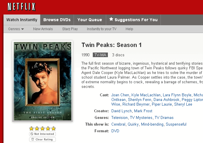 Stream Twin Peaks (Instant Watch on Netflix)