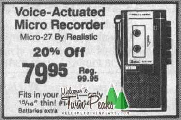 The 1989 newspaper ad for Dale Cooper's tape voice-actuated recorder. Only $79.95
