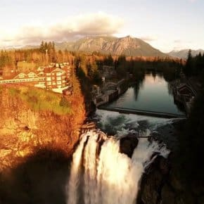 Drone Over Twin Peaks: Snoqualmie Falls And The Great Northern As Never Seen Before (Video)