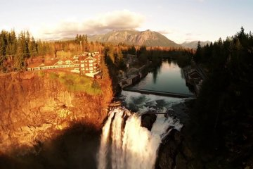 Snoqualmie Falls as seen from a Drone