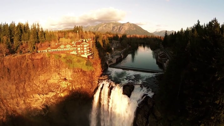 Drone Over Twin Peaks Snoqualmie Falls And The Great Northern As Never Seen Before Video