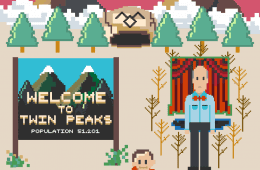 Twin Peaks meets Super Mario: Black Lodge and Welcome to Twin Peaks sign