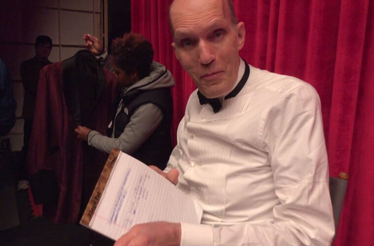 Carel Struycken and Cori Glazer rehearse a backwards line for Twin Peaks: The Return