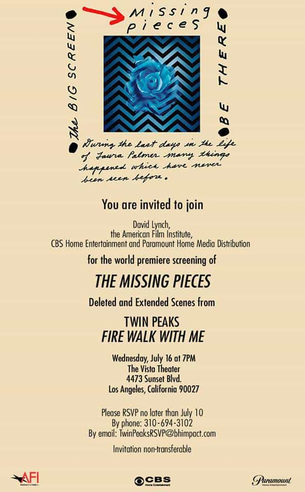 Invitation to Twin Peaks: The Missing Pieces screening in L.A.